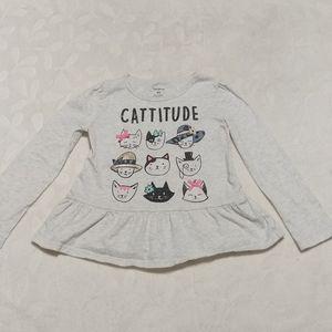 Carters Long sleeve cat T-shirt hats, bows glitter